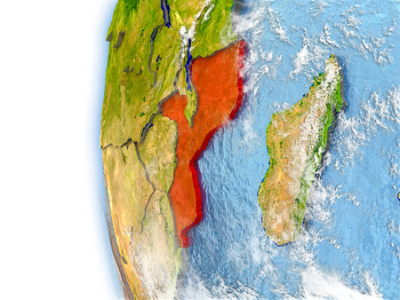 Mozambique highlighted in red on planet Earth with visible waves in the oceans and clouds in the atmosphere. 3D illustration with detailed planet surface.