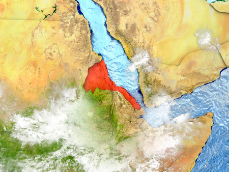 Eritrea in red on map with detailed landmass texture, realistic watery oceans and clouds above the surface. 3D illustration.