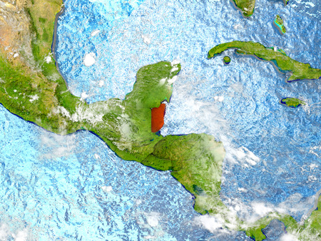 Belize in red on map with detailed landmass texture, realistic watery oceans and clouds above the surface. 3D illustration. Stock Photo