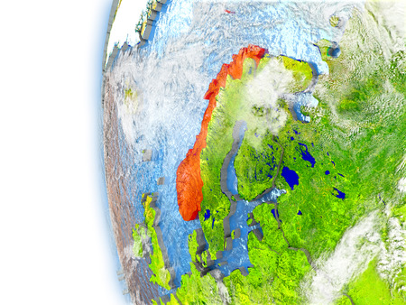Norway highlighted in red on planet Earth with visible waves in the oceans and clouds in the atmosphere. 3D illustration with detailed planet surface.