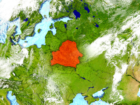 Belarus in red on map with detailed landmass texture, realistic watery oceans and clouds above the surface. 3D illustration. Stock Photo