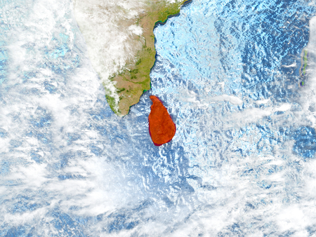 Sri Lanka in red on map with detailed landmass texture, realistic watery oceans and clouds above the surface. 3D illustration. Stock Photo