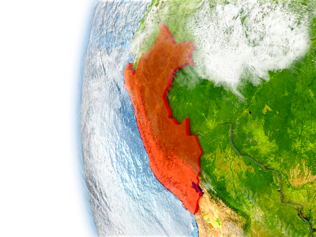 Peru highlighted in red on planet Earth with visible waves in the oceans and clouds in the atmosphere. 3D illustration with detailed planet surface. Stock Photo