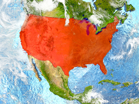 USA in red on map with detailed landmass texture, realistic watery oceans and clouds above the surface. 3D illustration.