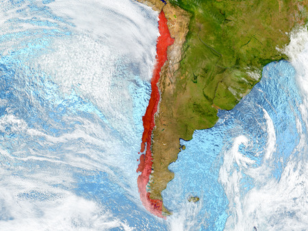 Chile in red on map with detailed landmass texture, realistic watery oceans and clouds above the surface. 3D illustration.