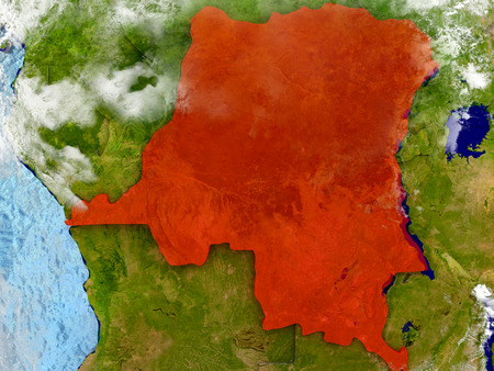 Democratic Republic of Congo in red on map with detailed landmass texture, realistic watery oceans and clouds above the surface. 3D illustration. Stock Photo