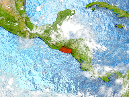 mapa de el salvador: El Salvador in red on map with detailed landmass texture, realistic watery oceans and clouds above the surface. 3D illustration.