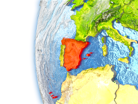Spain highlighted in red on planet Earth with visible waves in the oceans and clouds in the atmosphere. 3D illustration with detailed planet surface.