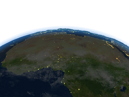 lybia: North Africa at night. 3D illustration with detailed planet surface and visible city lights.