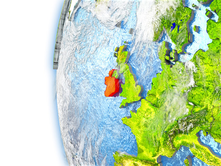 irish map: Ireland highlighted in red on planet Earth with visible waves in the oceans and clouds in the atmosphere. 3D illustration