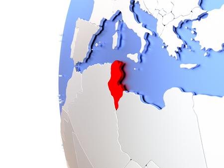 Map of Tunisia on elegant metallic globe. 3D illustration Stock Photo