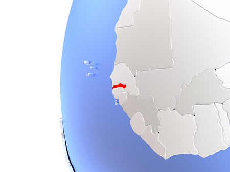 Map of Gambia on elegant metallic globe. 3D illustration