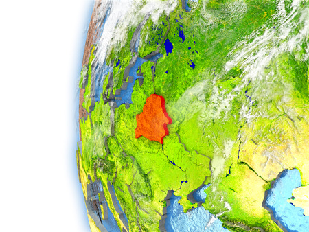 visible: Belarus highlighted in red on planet Earth with visible waves in the oceans and clouds in the atmosphere. 3D illustration with detailed planet surface.