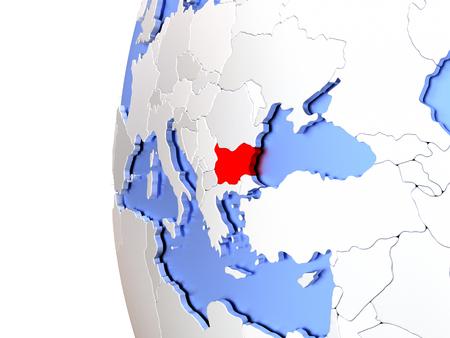 Map of Bulgaria on elegant metallic globe. 3D illustration
