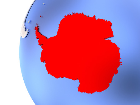 Map of Antarctica on elegant metallic globe. 3D illustration