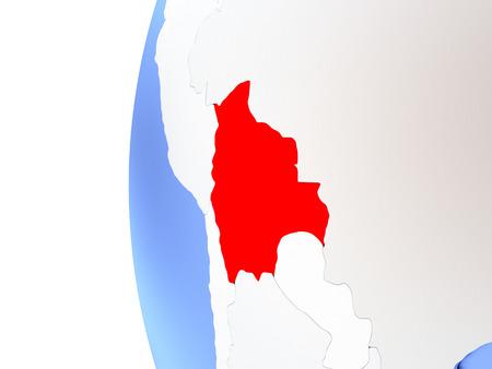 map bolivia: Map of Bolivia on elegant metallic globe. 3D illustration