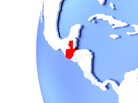 guatemalan: Map of Guatemala on elegant metallic globe. 3D illustration