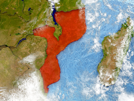 Mozambique in red on map with detailed landmass texture, realistic watery oceans and clouds above the surface. 3D illustration.
