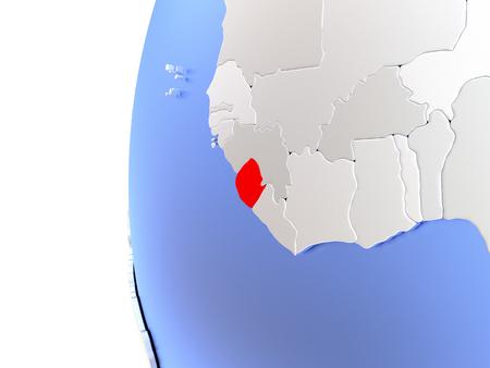 Map of Sierra Leone on elegant metallic globe. 3D illustration