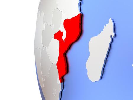 Map of Mozambique on elegant metallic globe. 3D illustration
