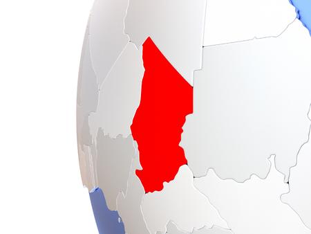 Map of Chad on elegant metallic globe. 3D illustration