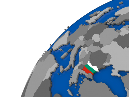 Bulgaria with embossed national flag on political globe. 3D illustration