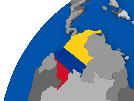 Colombia with embossed national flag on political globe. 3D illustration Stock Photo
