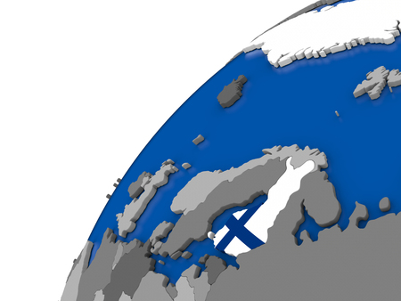 finnish: Finland with embossed national flag on political globe. 3D illustration