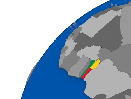 Benin with embossed national flag on political globe. 3D illustration