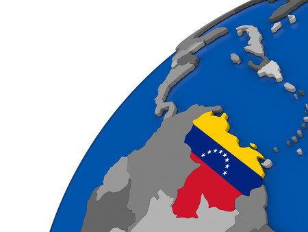 Venezuela with embossed national flag on political globe. 3D illustration Stock Photo