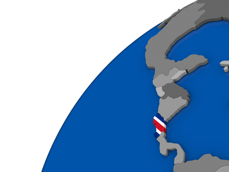 Costa Rica with embossed national flag on political globe. 3D illustration