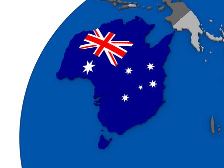 Australia with embossed national flag on political globe. 3D illustration