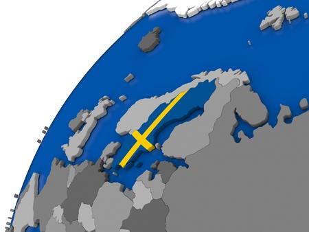 Sweden with embossed national flag on political globe. 3D illustration