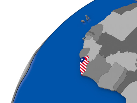Liberia with embossed national flag on political globe. 3D illustration