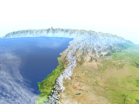 Altiplano in Andes. 3D illustration with detailed planet surface.