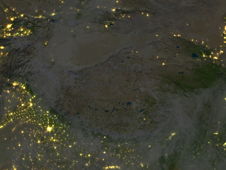 gobi: Himalayas at night. 3D illustration with detailed planet surface and visible city lights. Stock Photo