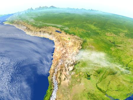 map bolivia: Altiplano. Ilustración 3D con superficie de planeta detallada.