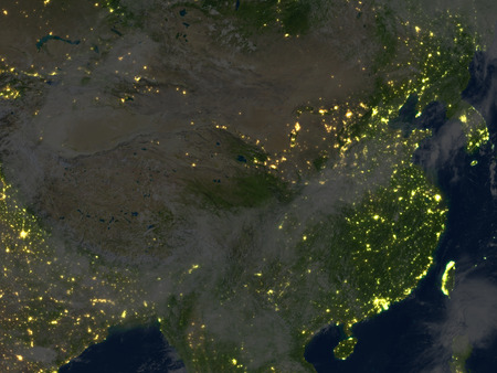 gobi: China and Mongolia region at night. 3D illustration with detailed planet surface and visible city lights. Stock Photo