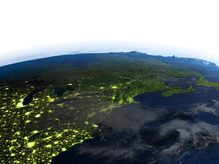 East coast of Canada at night. 3D illustration with detailed planet surface and visible city lights.