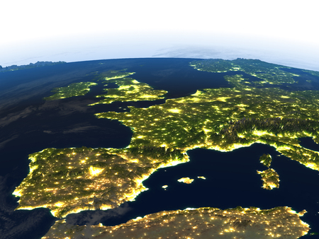 Iberia at night. 3D illustration with detailed planet surface and visible city lights. Reklamní fotografie