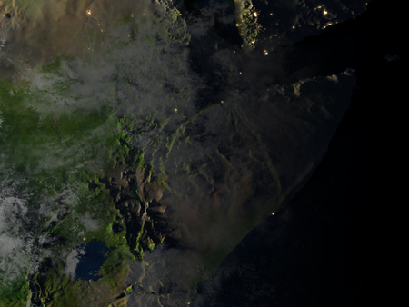 Horn of Africa at night. 3D illustration with detailed planet surface and visible city lights.