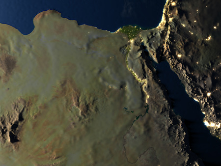 nile: Egypt at night. 3D illustration with detailed planet surface and visible city lights. Stock Photo