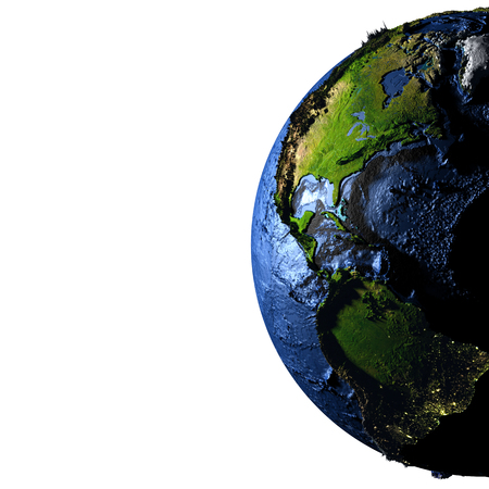 Americas on model of Earth with exaggerated surface features including ocean floor. 3D illustration. Blank space for your copy on the left side. Elements of this image furnished by NASA.