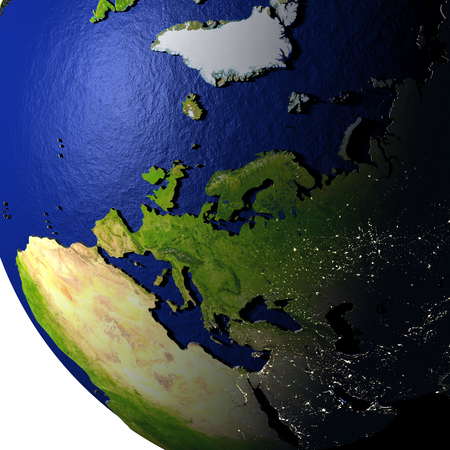 Europe on model of Earth with dark blue oceans and embossed landmasses. 3D illustration.