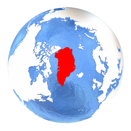 Map of Greenland on elegant metallic globe with watery oceans. 3D illustration isolated on white background.