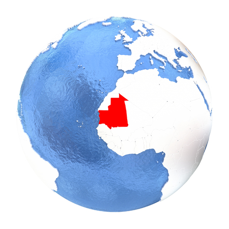 Map of Mauritania on elegant metallic globe with watery oceans. 3D illustration isolated on white background.