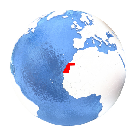 Map of Western Sahara on elegant metallic globe with watery oceans. 3D illustration isolated on white background.