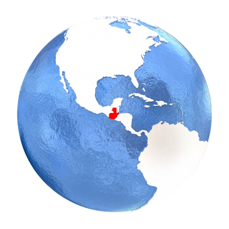 guatemalan: Map of Guatemala on elegant metallic globe with watery oceans. 3D illustration isolated on white background.