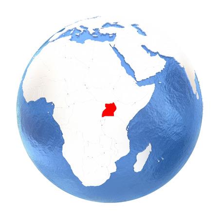 Map of Uganda on elegant metallic globe with watery oceans. 3D illustration isolated on white background.
