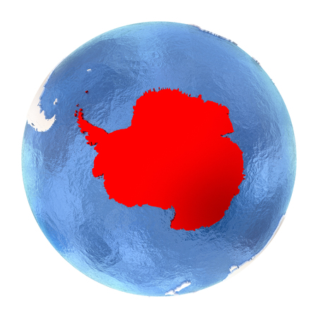 antarctic: Map of Antarctica on elegant metallic globe with watery oceans. 3D illustration isolated on white background.